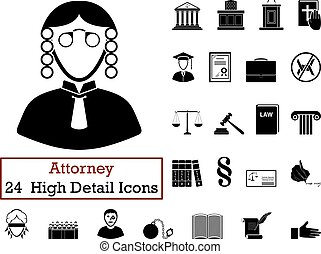Set of 24 Attorney Icons in Black ColorVector illustration