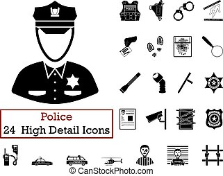 Set of 24 Police Icons in Black ColorVector illustration