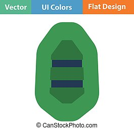 Flat design icon of rubber boat in ui colors. Vector...