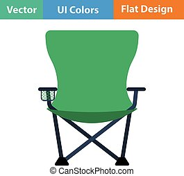 Flat design icon of Fishing folding chair in ui colors...