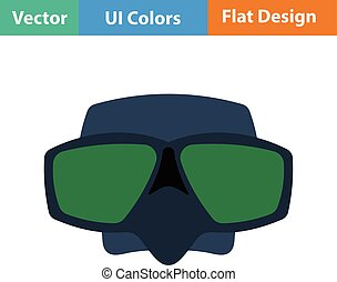 Flat design icon of scuba mask in ui colors Vector...