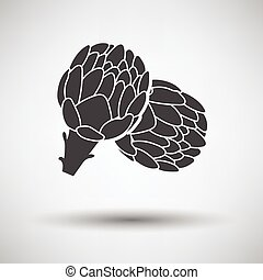 Artichoke icon on gray background with round shadow. Vector...