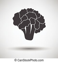 Cauliflower icon on gray background with round shadow Vector...