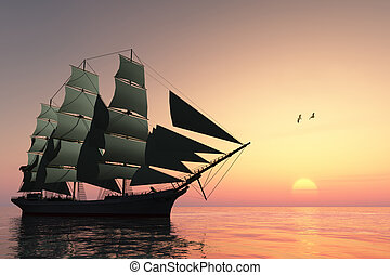 PULSE OF LIFE - A tall clipper ship sails on calm waters at...