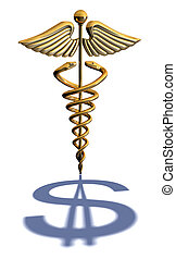 Caduceus Medical Symbol chrome - Chrome caduceus casting a...