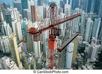 Construction Crane from Above - View of a construction crane...