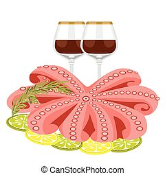 frutti mare, limone, polpo, rosmarino
