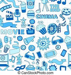 Vector pattern with cinema hand drawn icons Doodle style...