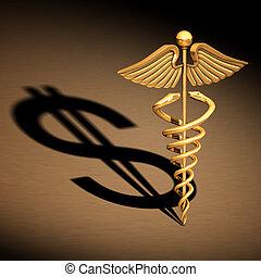 Caduceus Medical Symbol chrome - Chrome caduceus over a...