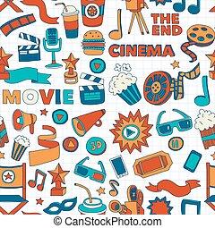 Cinema icons set Cinema pattern Cinema icons Cinema...