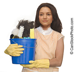 Cleaning Lady - Cleaning lady wearing rubber gloves and an...