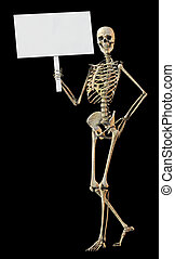 Skeleton honding sign - A skeleton standing casually and...