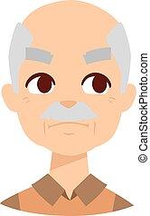 Envious man vector illustration. - Envious man face and old...