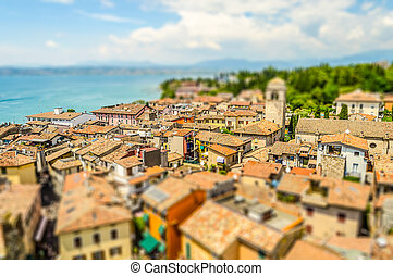 Aerial view of Sirmione, Lake Garda, Italy. Tilt-shift effect applied
