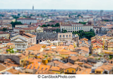 Panoramic View Over Verona, Italy Tilt-shift effect applied...