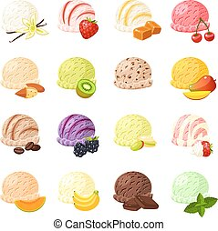 Set of cartoon food: ice cream with different flavours -...