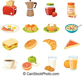 Set of cartoon food: breakfast. Toaster/coffee...