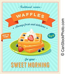 Best breakfast - vintage restaurant sign Retro styled poster...