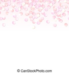 Seamless border of pink realistic confetti, design template...