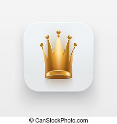 Queen icon. Symbol of Crown on light backdrop. - Queen icon....