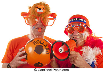 Dutch soccer supporters in orange on white background