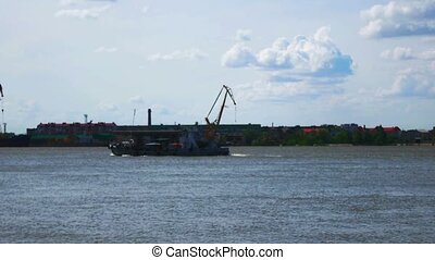 Ship sails on the river Volga View from the Astrakhan...