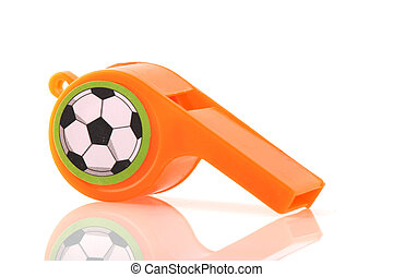Orange whistle - single Dutch soccer whistle isolated over...