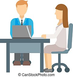 Interview vector illustration. - Stressful people waiting on...