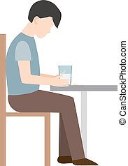 Loser vector illustration. - Anxious man clutching his head...