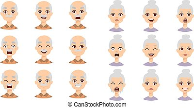 People faces vector set.
