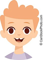 Happy boy face vector illustration. - Adorable young happy...