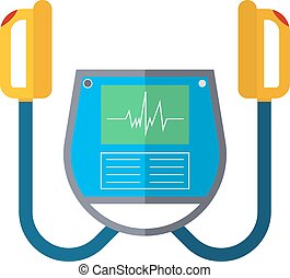 Defibrillator unit isolated medical vector icon -...