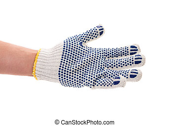 Protective glove with blue circles on hand Isolated on a...