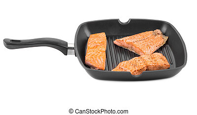 Salmon in pan Isolated on a white background