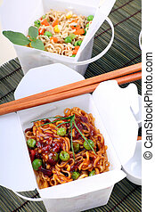 Take Out Noodles - BBQ egg noodles and vegetable noodles in...