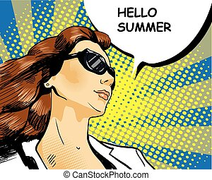 Woman in sunglasses with speech bubble. Vector illustration...