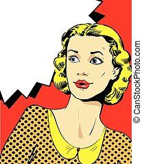 Woman with speech bubble. Vector illustration in comics...