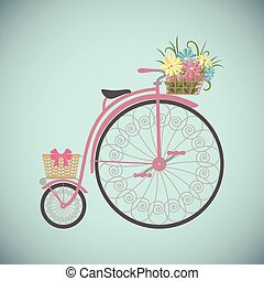 Retro Bicycle in flat style with basket. - Bicycle in flat...