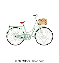 Bicycle in flat style. Retro bicycle isolated on white...