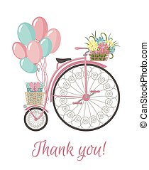 Retro Bicycle style with flowers and balloons. - Postcard...
