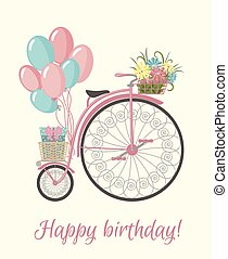 Retro Bicycle style with flowers and balloons - Happy...