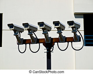 Group of Five Security Cameras Performing Surveillance