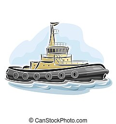 Tugboat - Vector illustration of logo for tugboat tow-line...