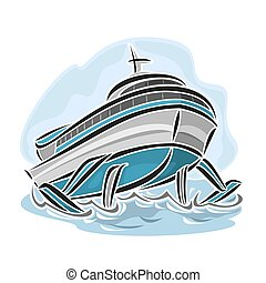 Hydrofoil ship - Vector illustration of logo for hydrofoil...