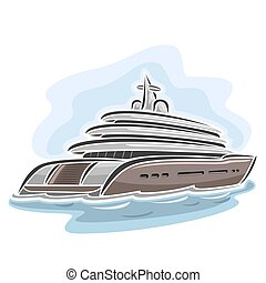 Mega yacht - Vector illustration of logo for large mega...