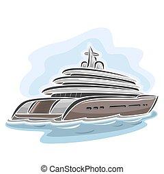 Mega yacht - Vector illustration of logo for large mega...
