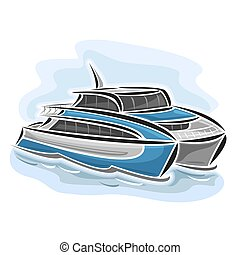 Ferry catamaran - Vector illustration of logo for high-speed...
