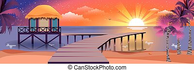 illustration of happy sunny summer night at beach with bungalows on water island sunset, palm trees in flat style