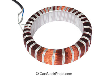 copper electrical wire isolated on white background