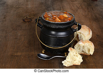 rustic beef stew with fresh bread